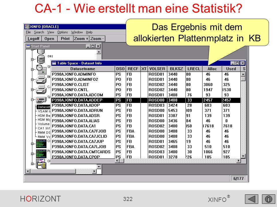 HORIZONT 322 XINFO ® Das Ergebnis mit dem allokierten Plattenmplatz in KB CA-1 - Wie erstellt man eine Statistik?