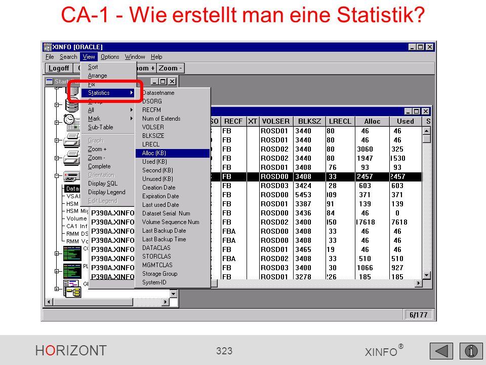 HORIZONT 323 XINFO ® CA-1 - Wie erstellt man eine Statistik?