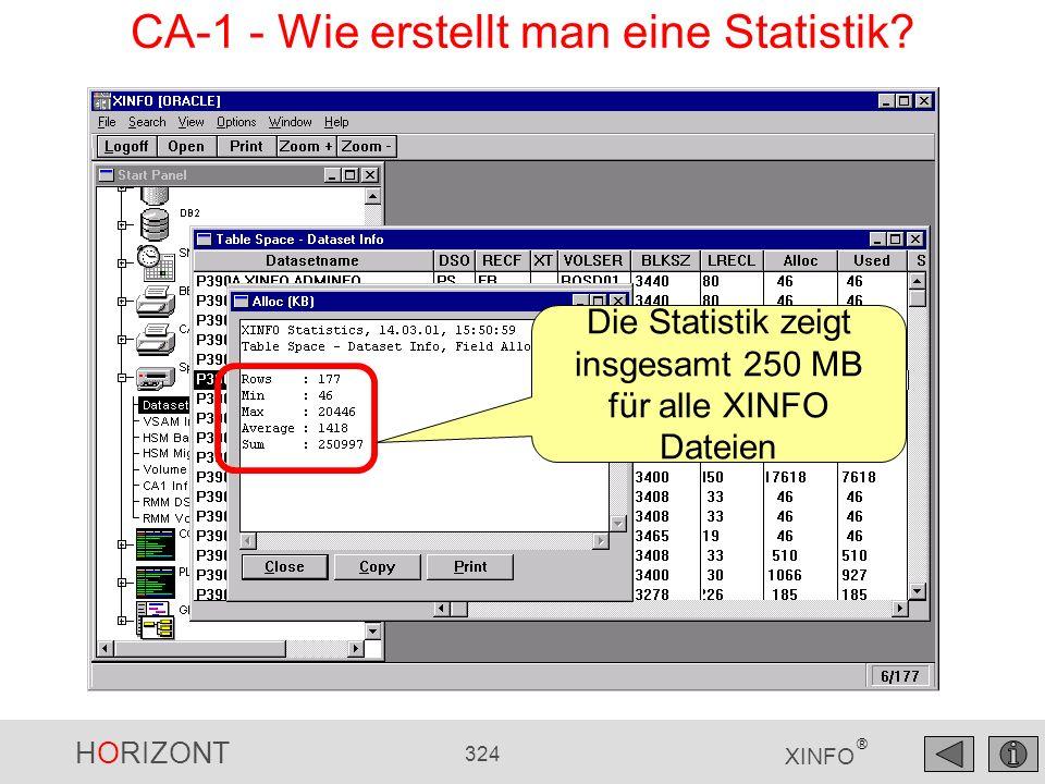 HORIZONT 324 XINFO ® Die Statistik zeigt insgesamt 250 MB für alle XINFO Dateien CA-1 - Wie erstellt man eine Statistik?