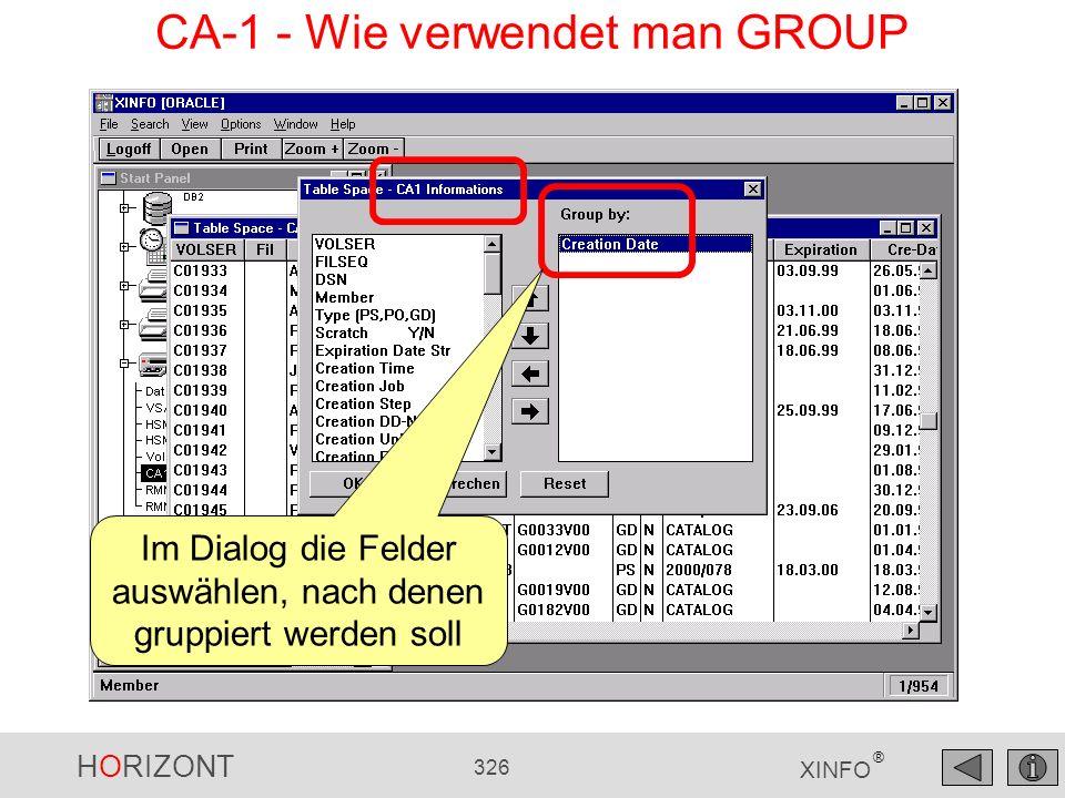 HORIZONT 326 XINFO ® CA-1 - Wie verwendet man GROUP Im Dialog die Felder auswählen, nach denen gruppiert werden soll