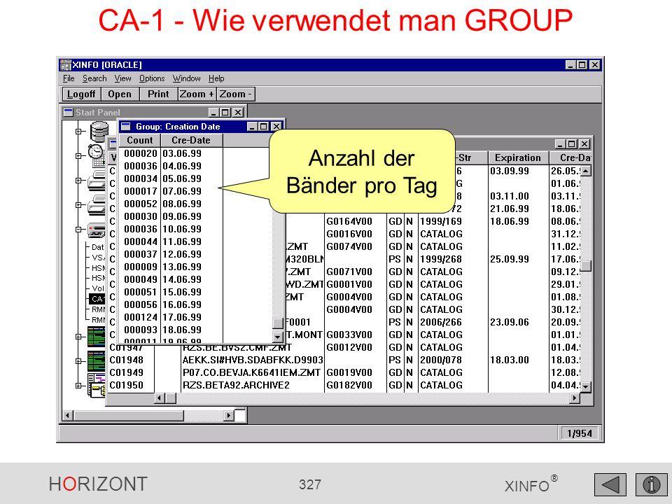 HORIZONT 327 XINFO ® Anzahl der Bänder pro Tag CA-1 - Wie verwendet man GROUP