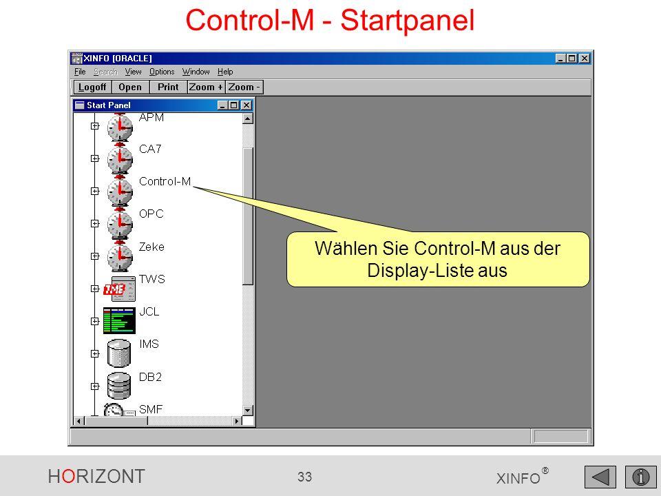 HORIZONT 33 XINFO ® Control-M - Startpanel Wählen Sie Control-M aus der Display-Liste aus