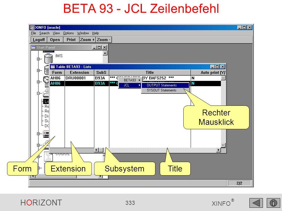 HORIZONT 333 XINFO ® BETA 93 - JCL Zeilenbefehl Rechter Mausklick Form Extension Subsystem Title