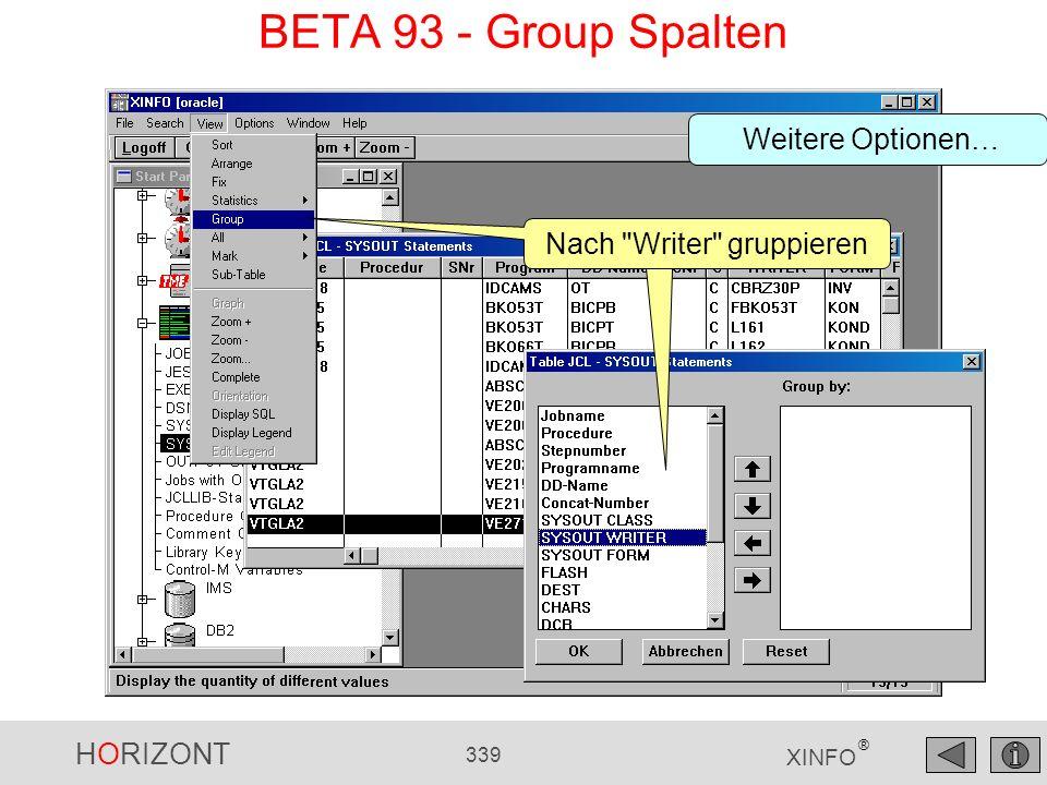 HORIZONT 339 XINFO ® BETA 93 - Group Spalten Nach