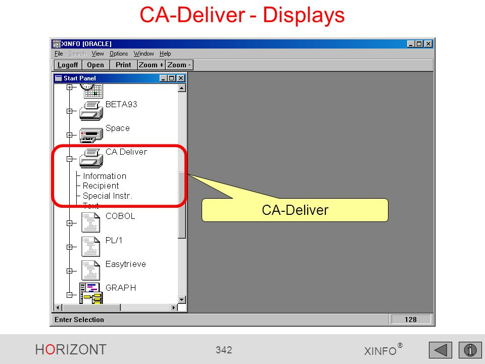 HORIZONT 342 XINFO ® CA-Deliver - Displays CA-Deliver
