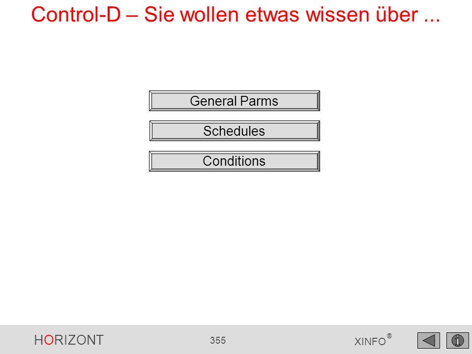 HORIZONT 355 XINFO ® Control-D – Sie wollen etwas wissen über... General Parms Schedules Conditions