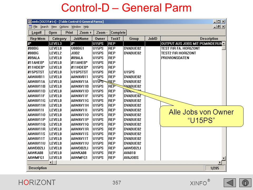 HORIZONT 357 XINFO ® Control-D – General Parm Alle Jobs von Owner U15PS