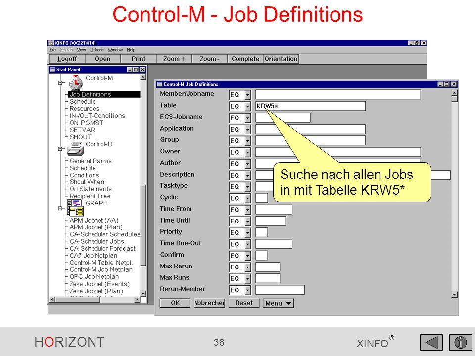 HORIZONT 36 XINFO ® Control-M - Job Definitions Suche nach allen Jobs in mit Tabelle KRW5*