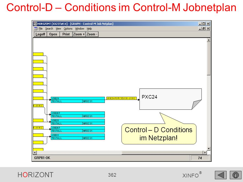 HORIZONT 362 XINFO ® Control-D – Conditions im Control-M Jobnetplan PXC24 Control – D Conditions im Netzplan!