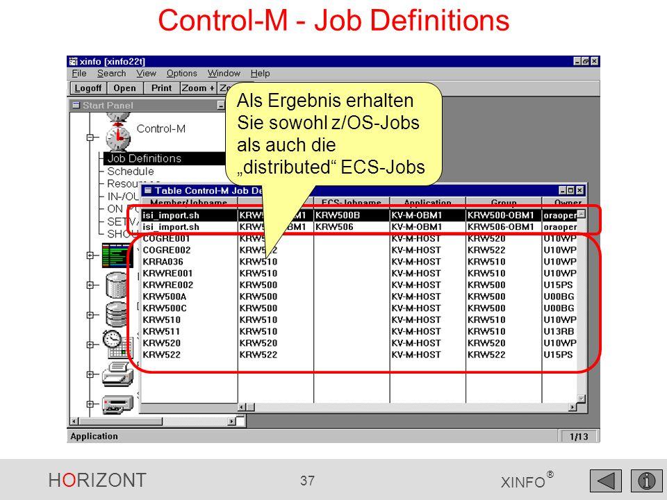 HORIZONT 37 XINFO ® Control-M - Job Definitions Als Ergebnis erhalten Sie sowohl z/OS-Jobs als auch die distributed ECS-Jobs