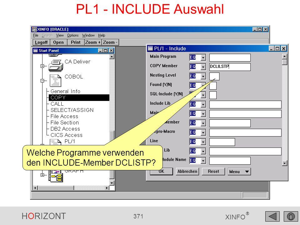 HORIZONT 371 XINFO ® PL1 - INCLUDE Auswahl Welche Programme verwenden den INCLUDE-Member DCLISTP?