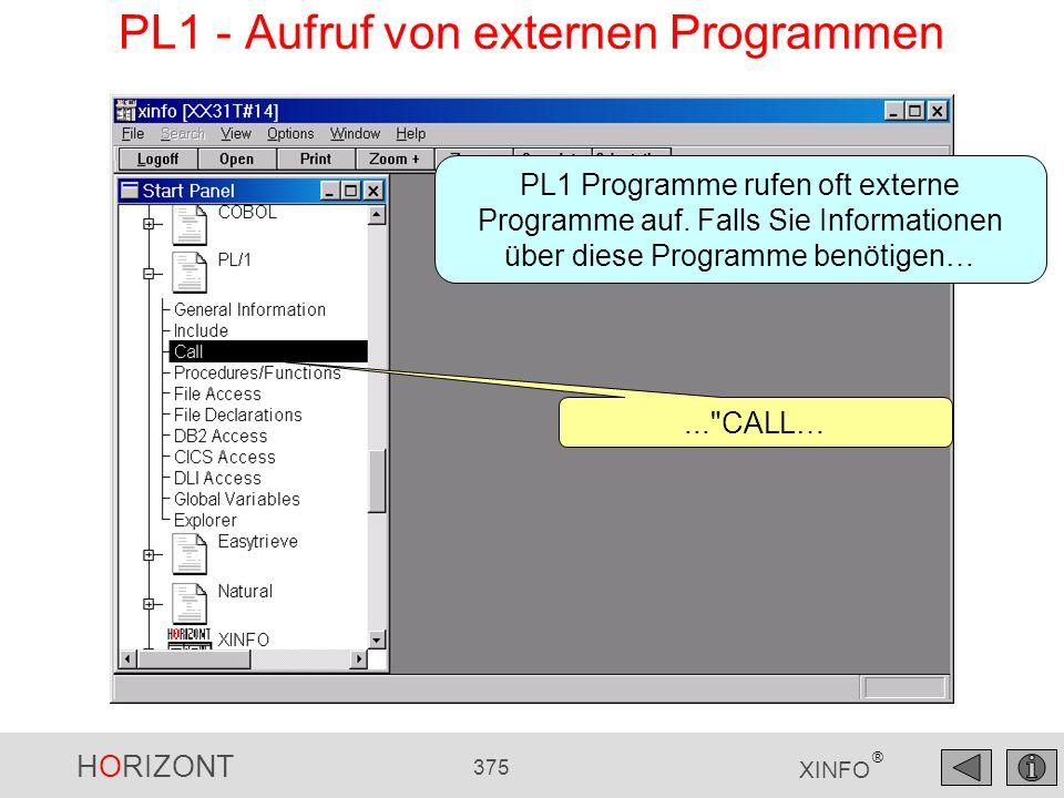 HORIZONT 375 XINFO ® PL1 - Aufruf von externen Programmen...
