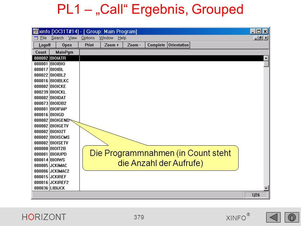 HORIZONT 379 XINFO ® PL1 – Call Ergebnis, Grouped Die Programmnahmen (in Count steht die Anzahl der Aufrufe)