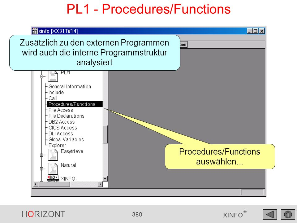 HORIZONT 380 XINFO ® PL1 - Procedures/Functions Procedures/Functions auswählen...