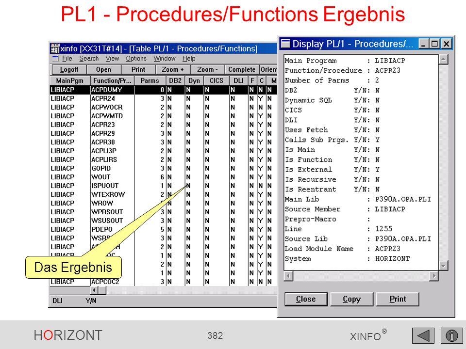 HORIZONT 382 XINFO ® PL1 - Procedures/Functions Ergebnis Das Ergebnis