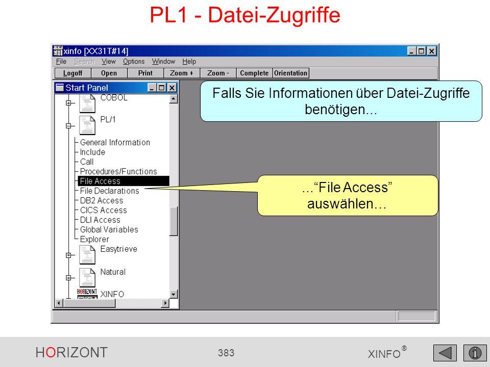 HORIZONT 383 XINFO ® PL1 - Datei-Zugriffe...File Access auswählen… Falls Sie Informationen über Datei-Zugriffe benötigen...