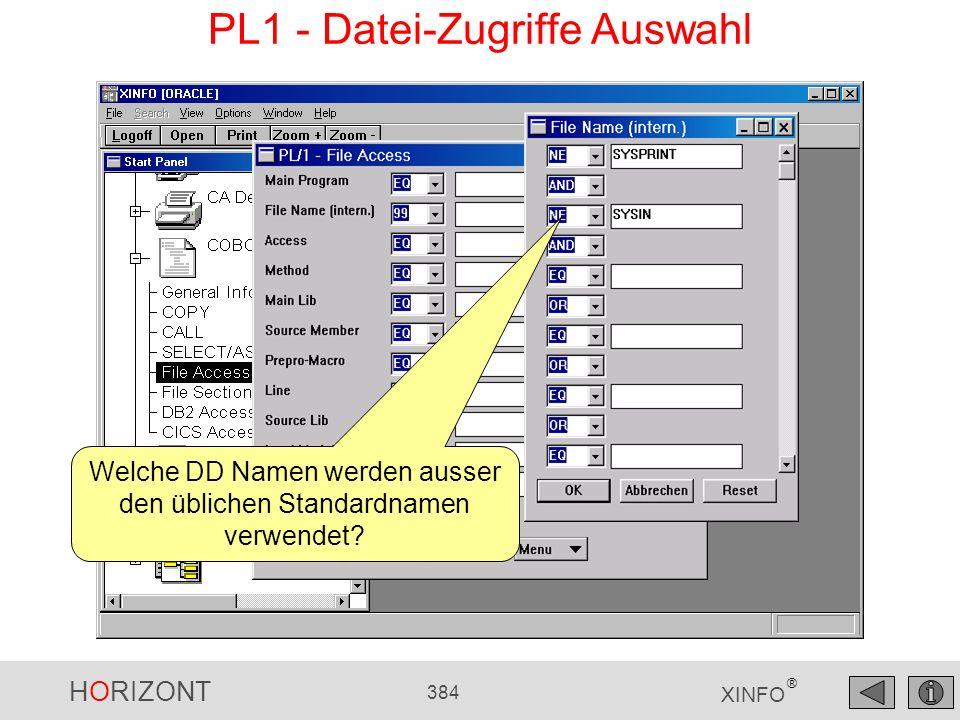 HORIZONT 384 XINFO ® PL1 - Datei-Zugriffe Auswahl Welche DD Namen werden ausser den üblichen Standardnamen verwendet?