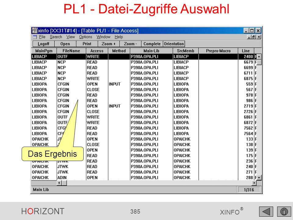 HORIZONT 385 XINFO ® PL1 - Datei-Zugriffe Auswahl Das Ergebnis