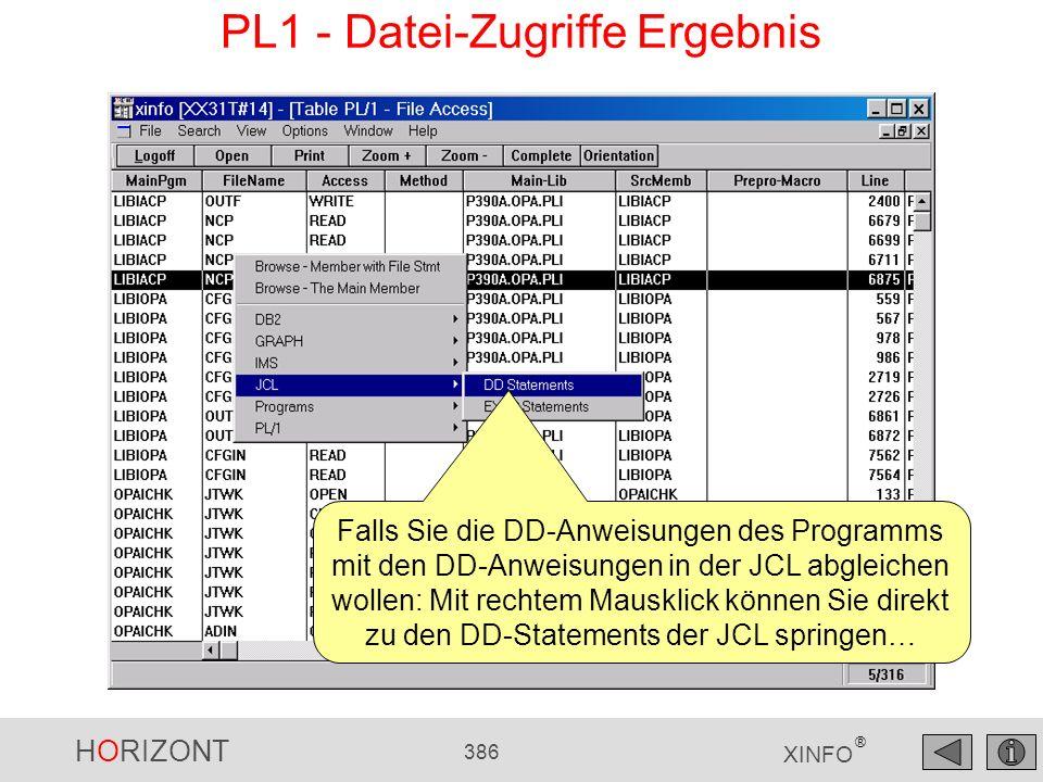 HORIZONT 386 XINFO ® PL1 - Datei-Zugriffe Ergebnis Falls Sie die DD-Anweisungen des Programms mit den DD-Anweisungen in der JCL abgleichen wollen: Mit