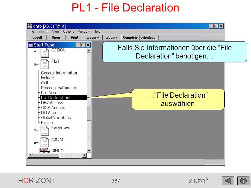 HORIZONT 387 XINFO ® PL1 - File Declaration...