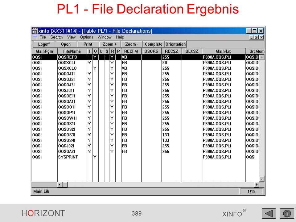 HORIZONT 389 XINFO ® PL1 - File Declaration Ergebnis