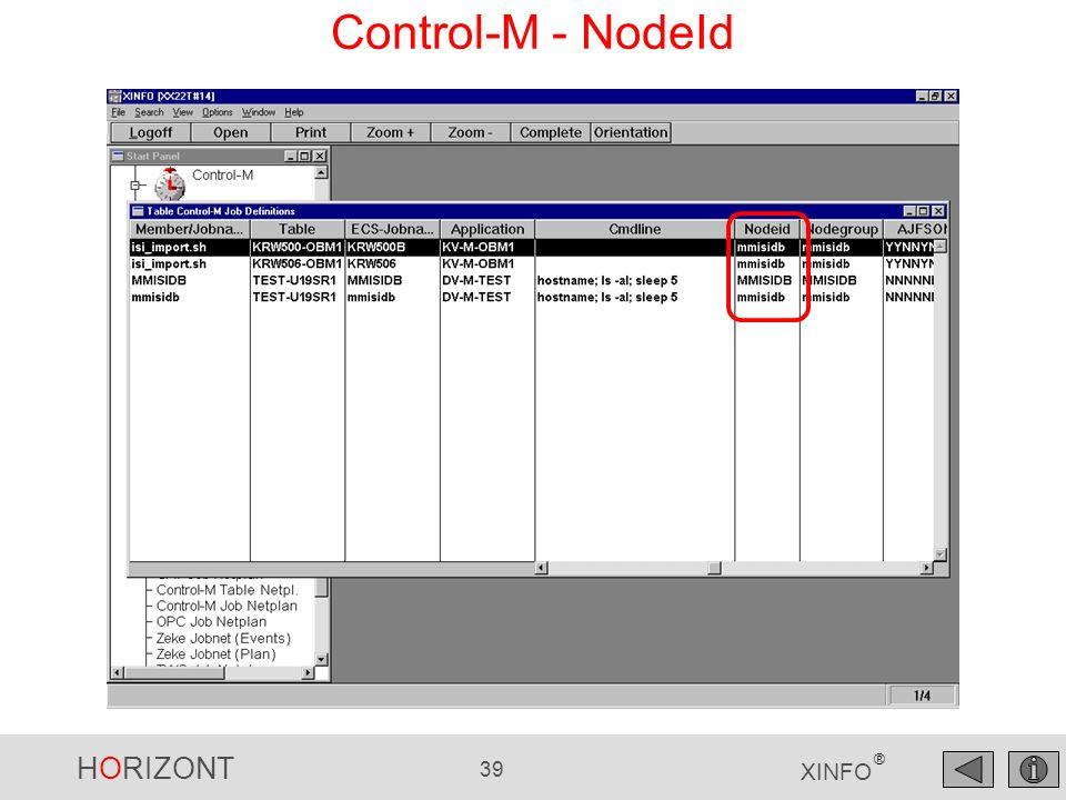 HORIZONT 39 XINFO ® Control-M - NodeId