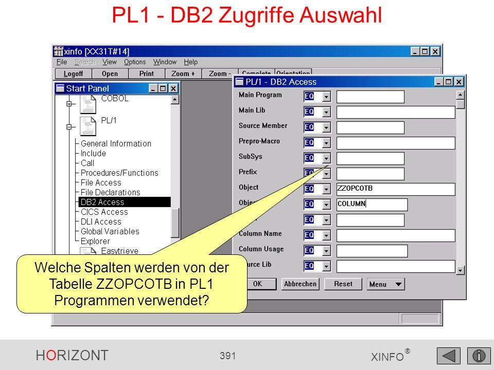 HORIZONT 391 XINFO ® PL1 - DB2 Zugriffe Auswahl Welche Spalten werden von der Tabelle ZZOPCOTB in PL1 Programmen verwendet?