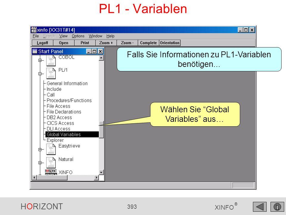 HORIZONT 393 XINFO ® PL1 - Variablen Wählen Sie Global Variables aus… Falls Sie Informationen zu PL1-Variablen benötigen...