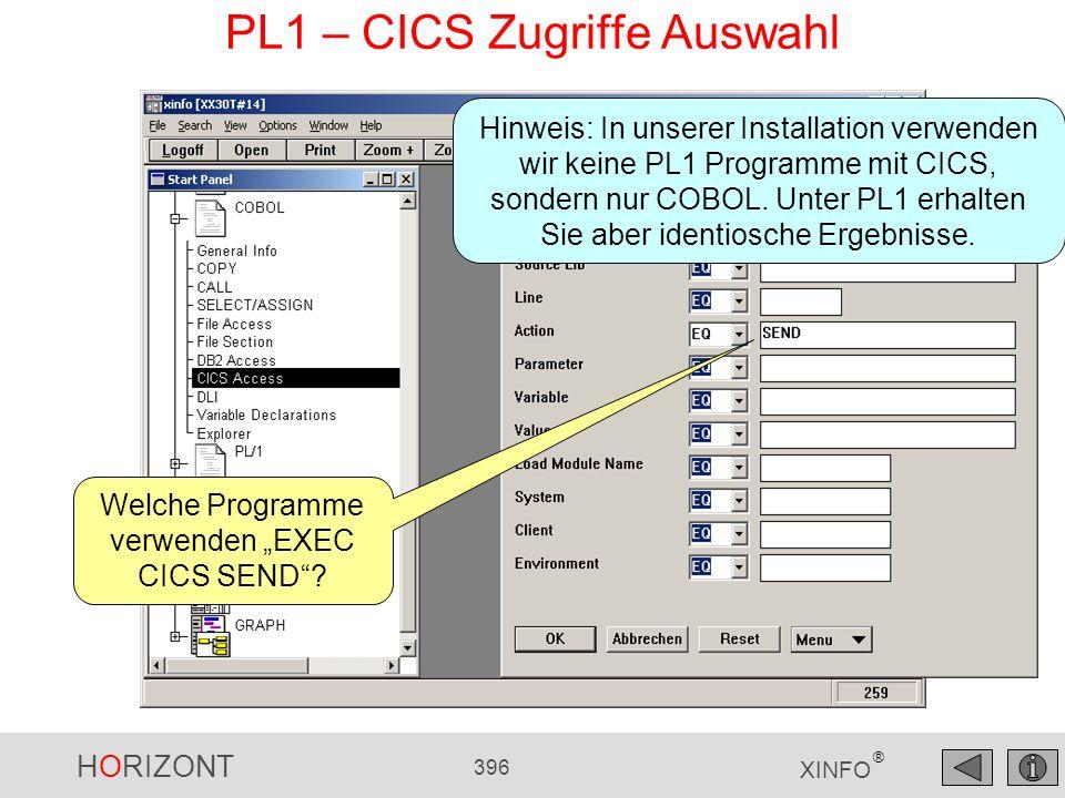HORIZONT 396 XINFO ® PL1 – CICS Zugriffe Auswahl Welche Programme verwenden EXEC CICS SEND? Hinweis: In unserer Installation verwenden wir keine PL1 P