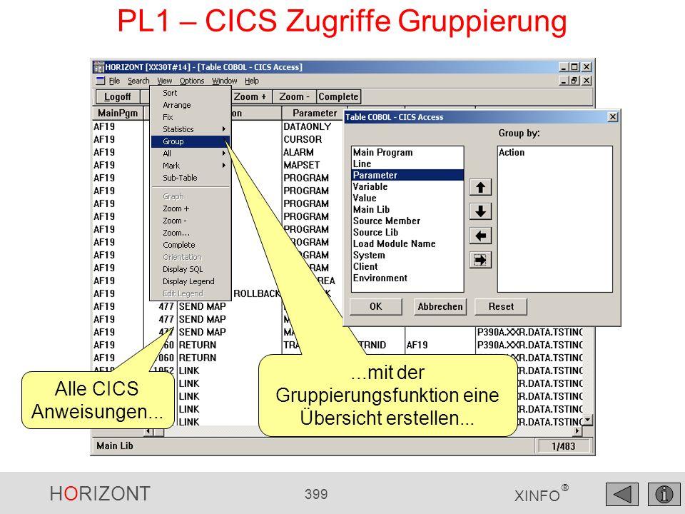 HORIZONT 399 XINFO ® PL1 – CICS Zugriffe Gruppierung Alle CICS Anweisungen......mit der Gruppierungsfunktion eine Übersicht erstellen...