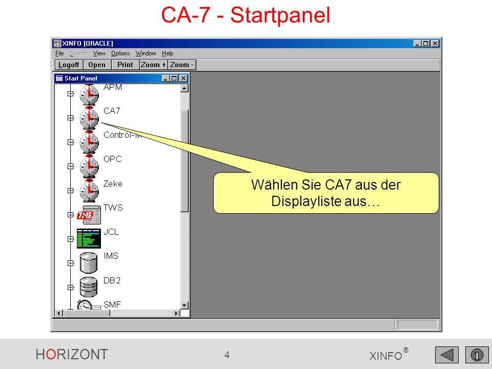 HORIZONT 455 XINFO ® COBOL - Explorer INCLUDE S FILES DB2 Klicken Sie mit der linken Maus auf das Programm-Symbol und erhalten eine Übersicht über die Programm-Elemente...