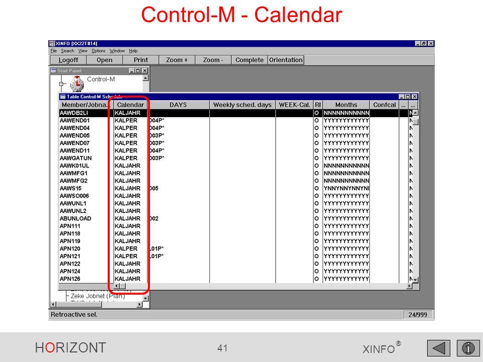 HORIZONT 41 XINFO ® Control-M - Calendar