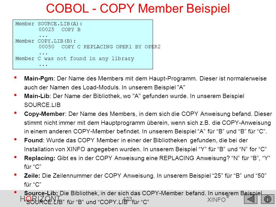 HORIZONT 423 XINFO ® COBOL - COPY Member Beispiel Member SOURCE.LIB(A): 00025COPY B... Member COPY.LIB(B): 00050COPY C REPLACING OPER1 BY OPER2... Mem