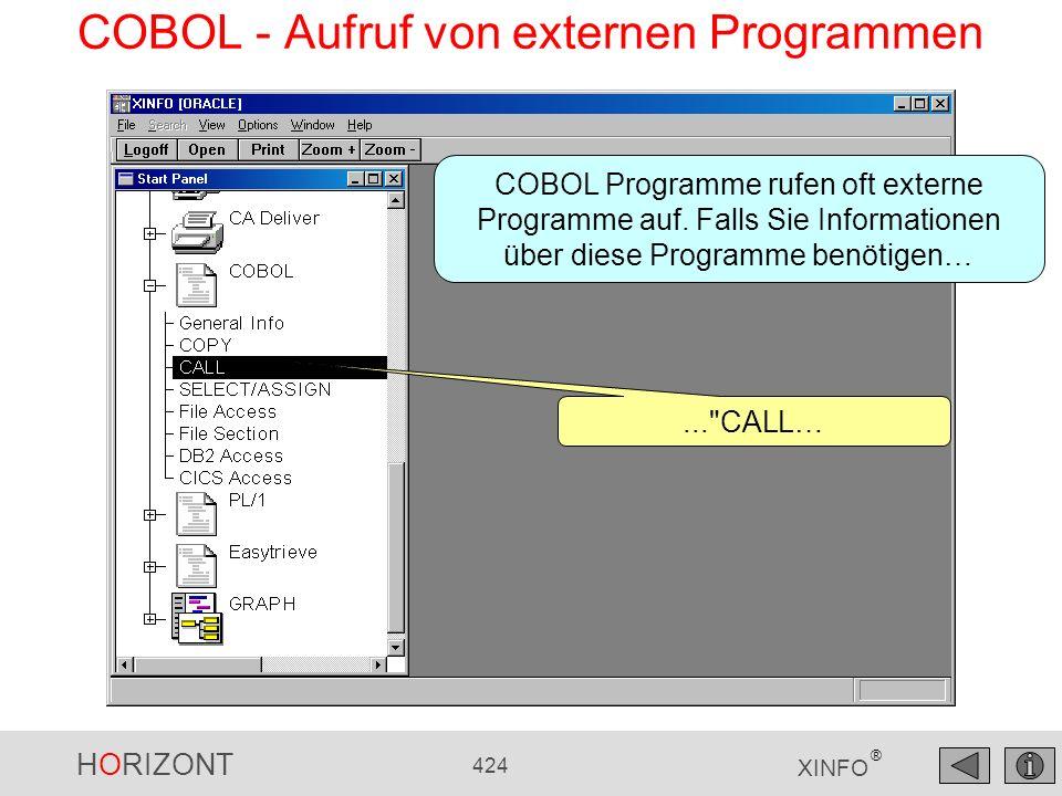 HORIZONT 424 XINFO ® COBOL - Aufruf von externen Programmen...