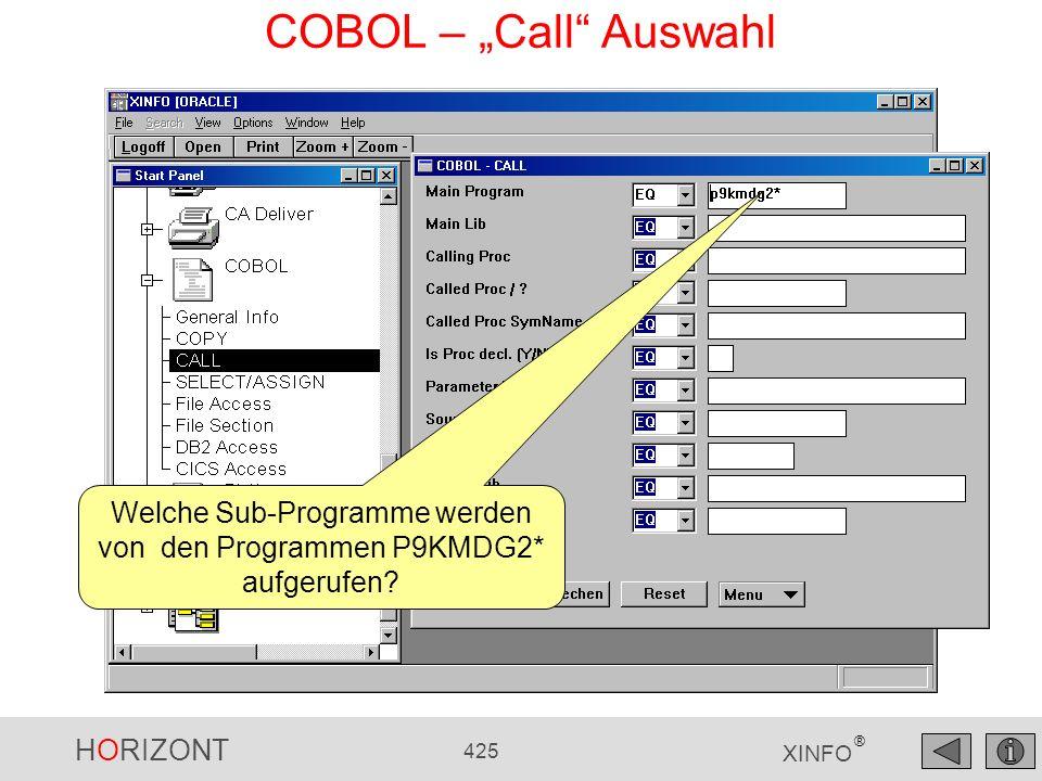 HORIZONT 425 XINFO ® COBOL – Call Auswahl Welche Sub-Programme werden von den Programmen P9KMDG2* aufgerufen?