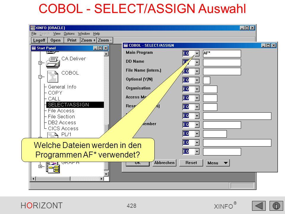 HORIZONT 428 XINFO ® COBOL - SELECT/ASSIGN Auswahl Welche Dateien werden in den Programmen AF* verwendet?