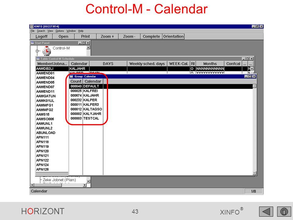 HORIZONT 43 XINFO ® Control-M - Calendar
