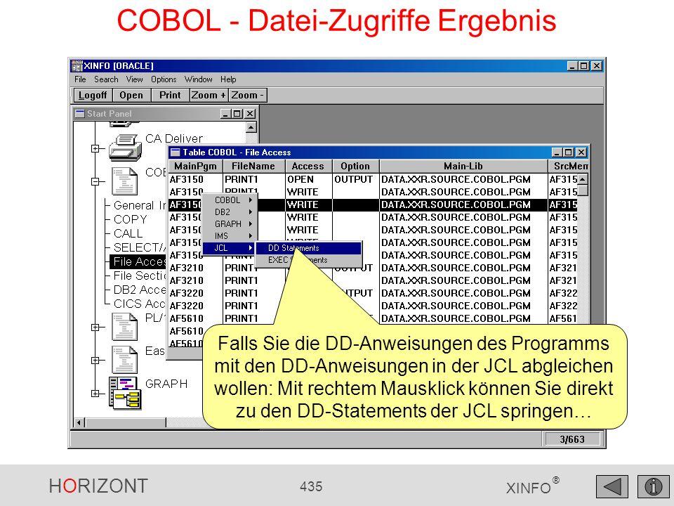 HORIZONT 435 XINFO ® COBOL - Datei-Zugriffe Ergebnis Falls Sie die DD-Anweisungen des Programms mit den DD-Anweisungen in der JCL abgleichen wollen: M