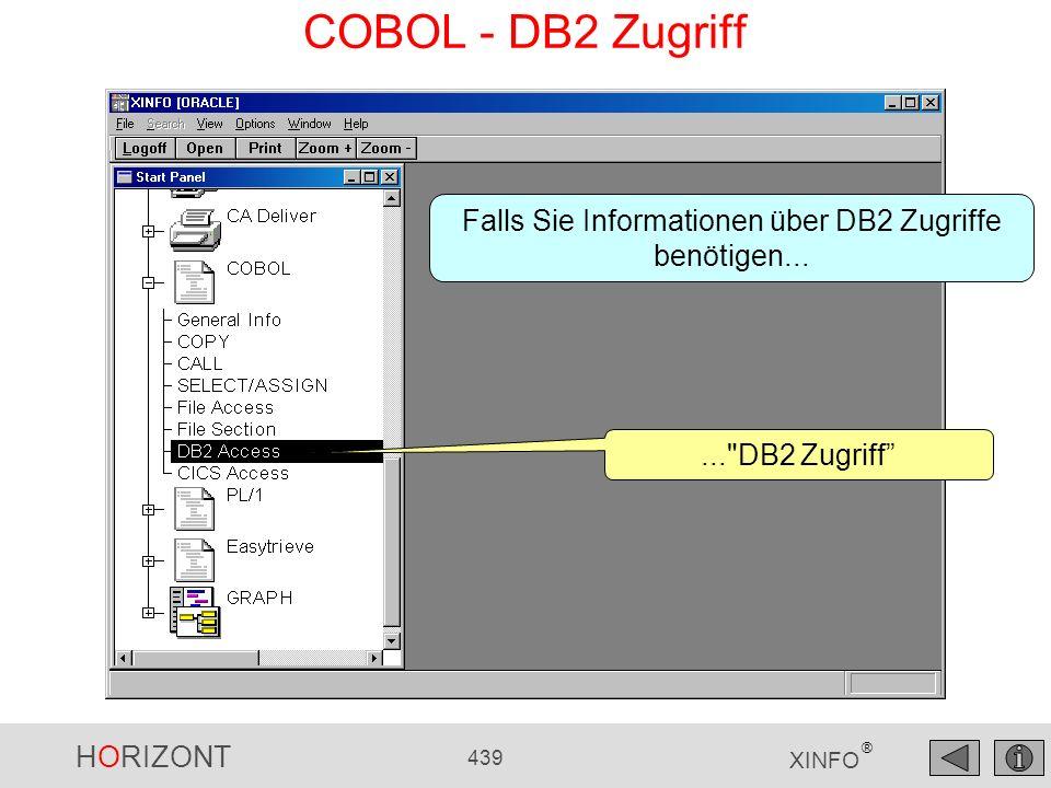 HORIZONT 439 XINFO ® COBOL - DB2 Zugriff...