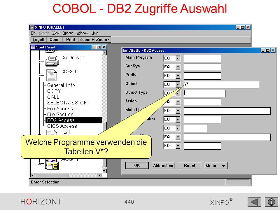 HORIZONT 440 XINFO ® COBOL - DB2 Zugriffe Auswahl Welche Programme verwenden die Tabellen V*?