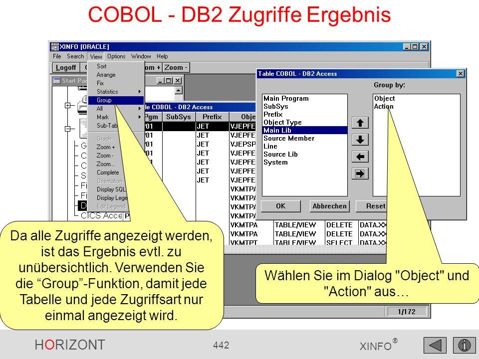 HORIZONT 442 XINFO ® COBOL - DB2 Zugriffe Ergebnis Da alle Zugriffe angezeigt werden, ist das Ergebnis evtl. zu unübersichtlich. Verwenden Sie die Gro