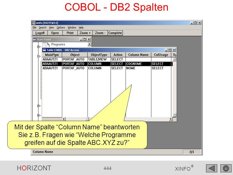 HORIZONT 444 XINFO ® COBOL - DB2 Spalten Mit der Spalte Column Name beantworten Sie z.B. Fragen wie Welche Programme greifen auf die Spalte ABC.XYZ zu