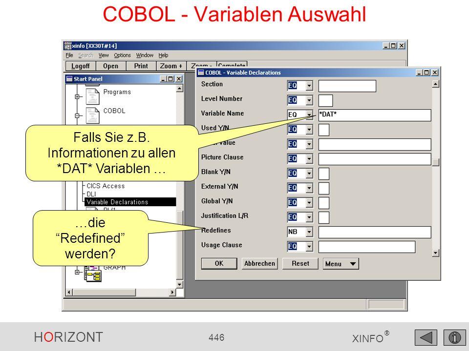 HORIZONT 446 XINFO ® COBOL - Variablen Auswahl Falls Sie z.B. Informationen zu allen *DAT* Variablen … …die Redefined werden?