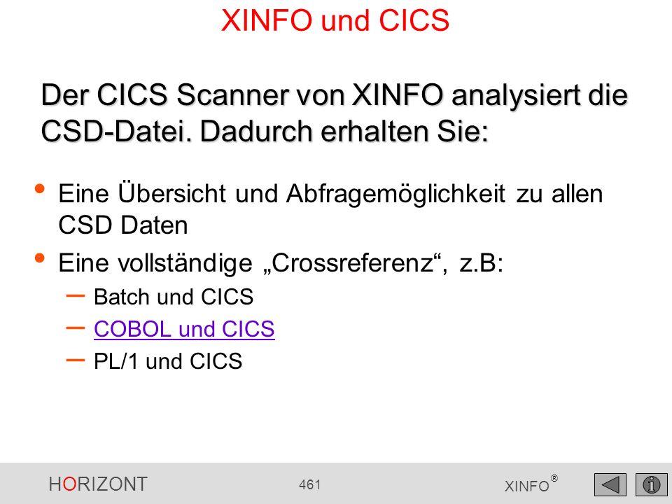 HORIZONT 461 XINFO ® XINFO und CICS Eine Übersicht und Abfragemöglichkeit zu allen CSD Daten Eine vollständige Crossreferenz, z.B: – Batch und CICS –