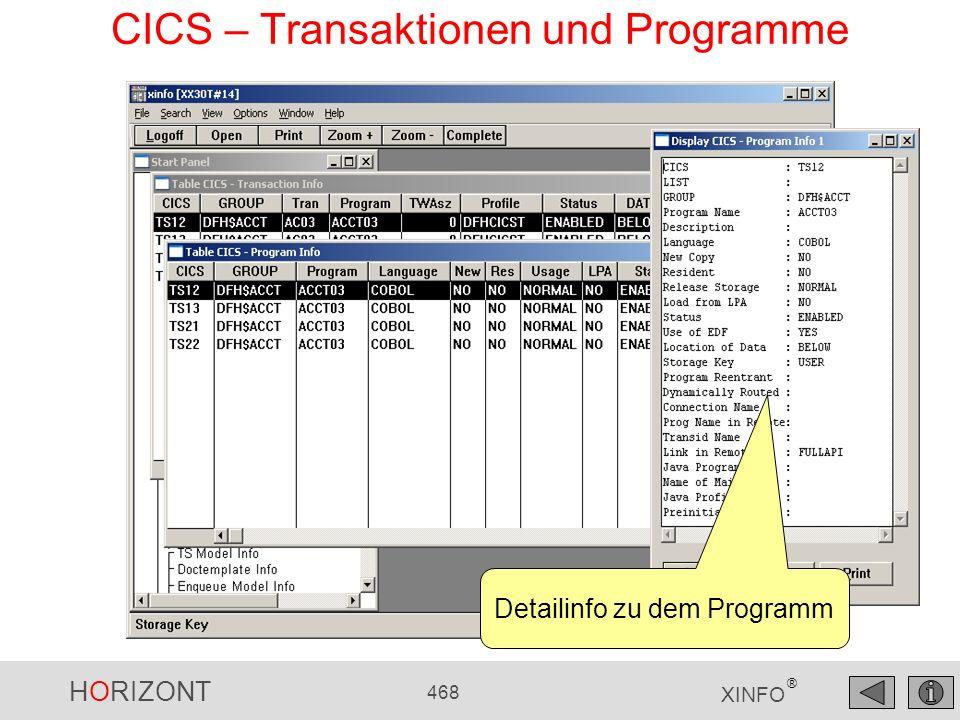 HORIZONT 468 XINFO ® CICS – Transaktionen und Programme Detailinfo zu dem Programm