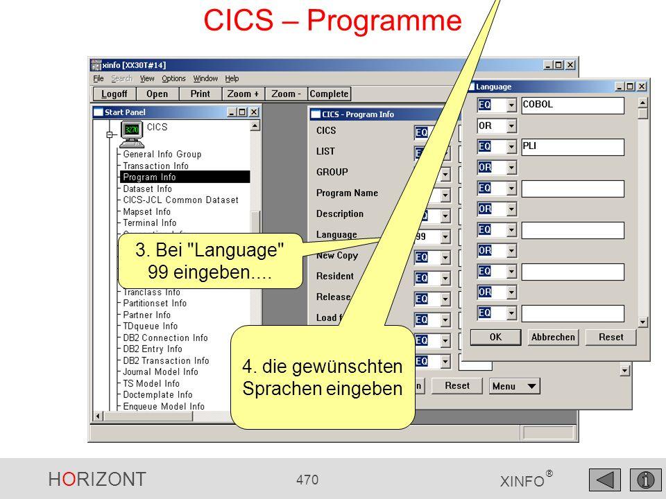 HORIZONT 470 XINFO ® CICS – Programme 3. Bei