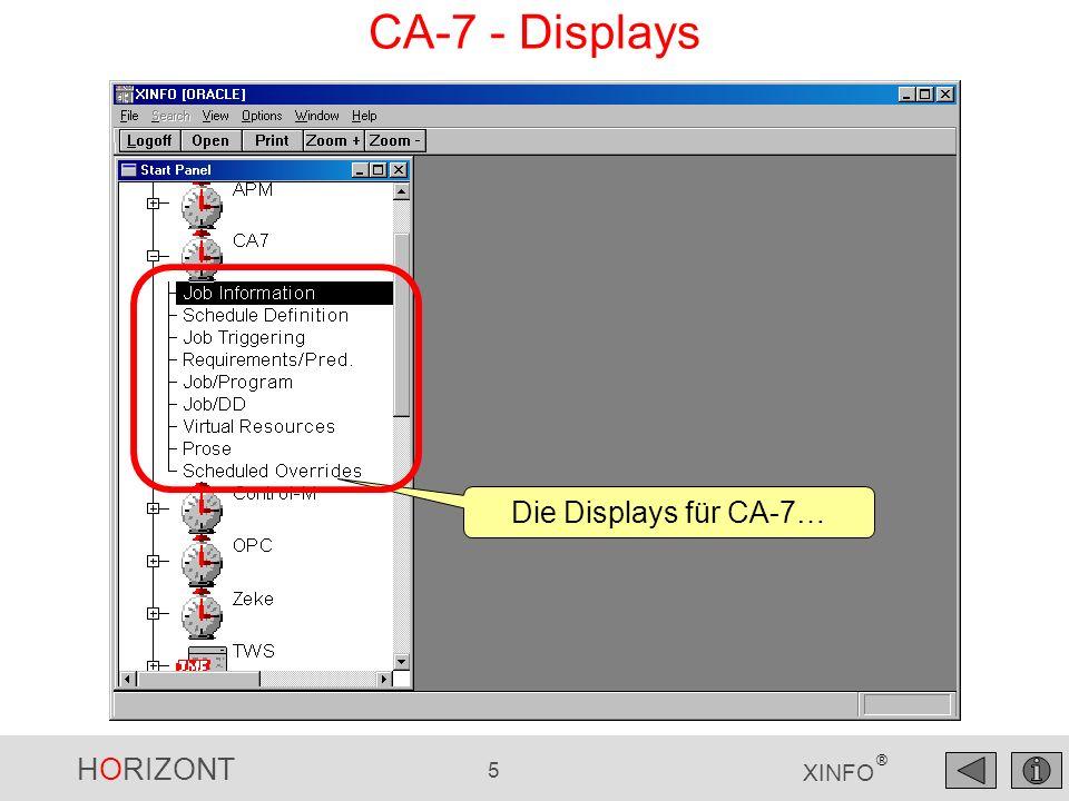 HORIZONT 346 XINFO ® CA-Deliver - Information Felder Mit der Option View - Display Legend erhalten Sie eine Beschreibung aller Felder