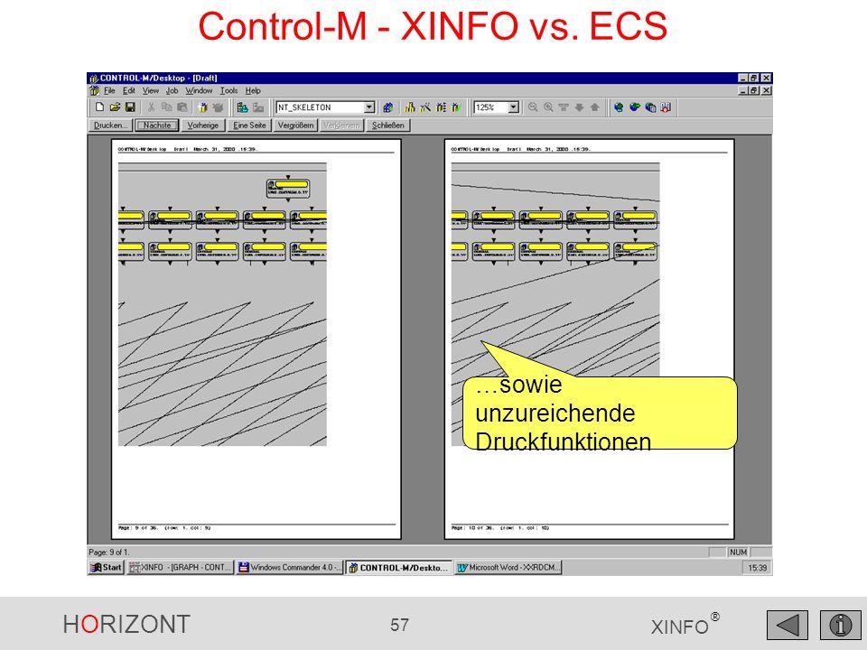HORIZONT 57 XINFO ® Control-M - XINFO vs. ECS …sowie unzureichende Druckfunktionen