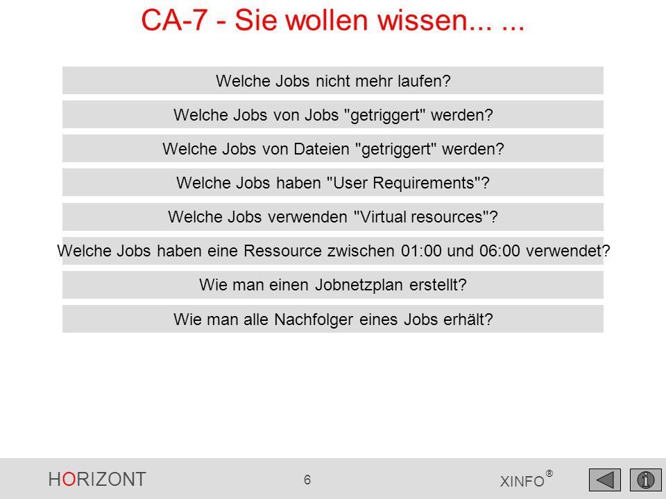 HORIZONT 6 XINFO ® CA-7 - Sie wollen wissen...... Welche Jobs nicht mehr laufen? Welche Jobs von Dateien