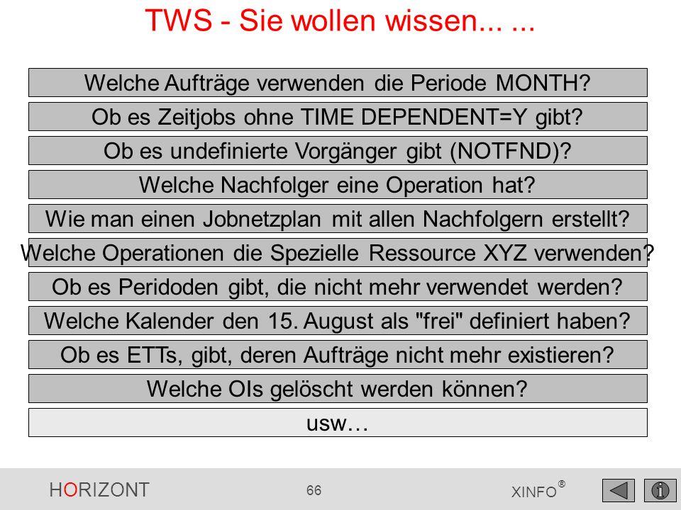 HORIZONT 66 XINFO ® TWS - Sie wollen wissen...... Welche Aufträge verwenden die Periode MONTH? Ob es Zeitjobs ohne TIME DEPENDENT=Y gibt? Welche Nachf